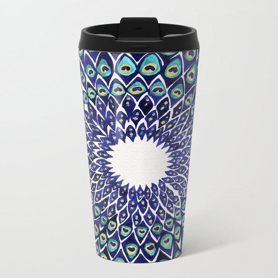 Peacock Mandala – Navy & Gold Metal Travel Mug