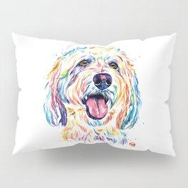 Goldendoodle, Golden Doodle - Dog Portrait Watercolor Painting Pillow Sham