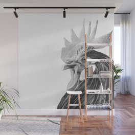 Black and White Rooster Wall Mural