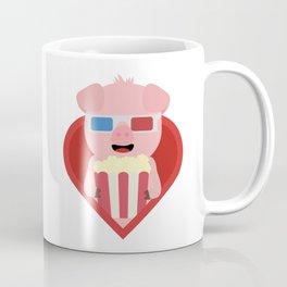 Cinema pig with popcorn in heart Coffee Mug