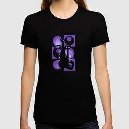 Purple Paradise Atomic Age Black Kitschy Cats T-shirt