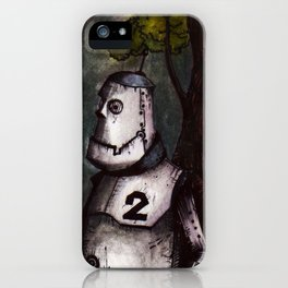 A robot lost in the woods iPhone Case