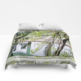 RAINY SPRING DAY AT THE DOCK IN THE WOODS Comforters