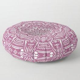 Wine Maroon Ethnic Detailed Textured Mandala Floor Pillow