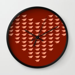 Pap Planes in Red Wall Clock