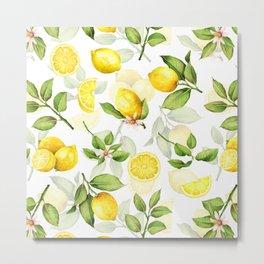 mediterranean summer lemon branches on white Metal Print