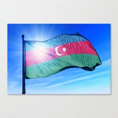 Azerbaijan flag waving on the wind Canvas Print