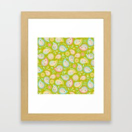 Hedgehog Paisley_Colors and Green Framed Art Print