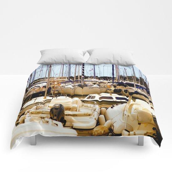 Boats in harbor Comforters