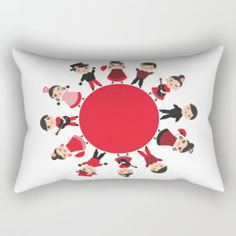 Spanish flamenco dancer. Kawaii cute face with pink cheeks and winking eyes. Gipsy Rectangular Pillow