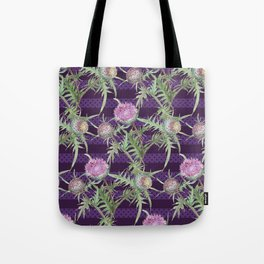 Thistle violet flowers pattern Tote Bag