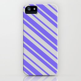 Light Gray & Medium Slate Blue Colored Stripes Pattern iPhone Case