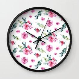 Blush pink green watercolor modern floral pattern Wall Clock