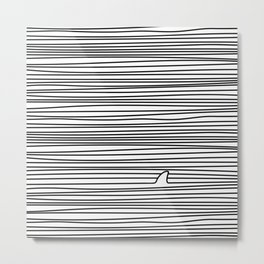 Minimal Line Drawing Simple Unique Shark Fin Gift Metal Print