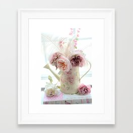 Shabby Chic Cottage Spring Floral In Water Bucket Framed Art Print