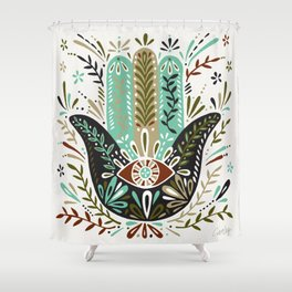 Hamsa Hand – Earth Palette Shower Curtain