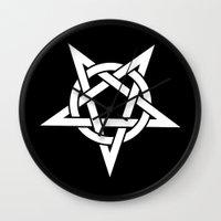 pentagram Wall Clocks featuring Pentagram by Howiesgraphics