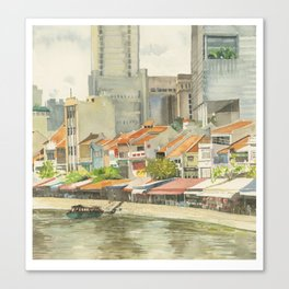 Boat Quay, Singapore Canvas Print