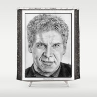 ford Shower Curtains featuring Harrison Ford in 2005 by JMcCombie