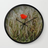 alone Wall Clocks featuring Alone by Hello Twiggs