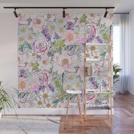 Watercolor garden peonies floral hand paint Wall Mural