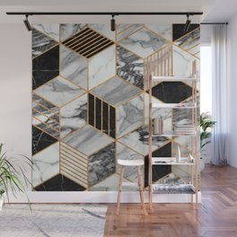 Marble Cubes 2 - Black and White Wall Mural