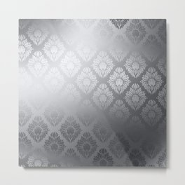 """Neutral gray Damask Pattern"" Metal Print"