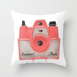 Vintage Camera - Red Throw Pillow
