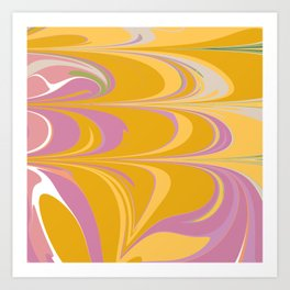 Colorful Abstract Marble in Lilac and Yellow Art Print