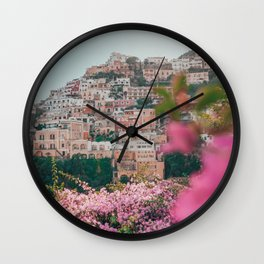 Positano, Italy Travel Photography with Pink Flowers Wall Clock