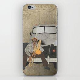 Trombone musician and his 1946 Dodge pickup truck iPhone Skin
