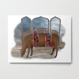 intestinal cow mirrow Metal Print