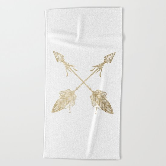 Tribal Arrows Gold on White Beach Towel
