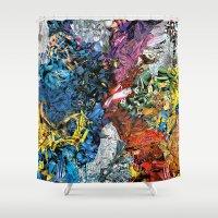 xmen Shower Curtains featuring The XMen by MelissaMoffatCollage