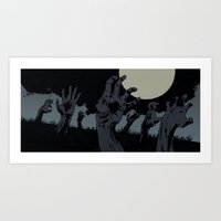 zombies Art Prints featuring Zombies! by Robert Sammelin ARTWORKS