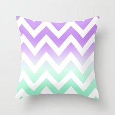 GREEN & PURPLE CHEVRON FADE Throw Pillow