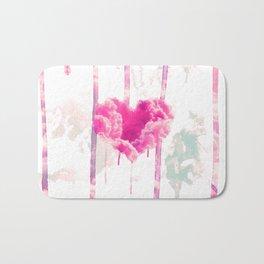 Bleed | Modern Pink Cloud Love Heart Pink Watercolor Drips Bath Mat