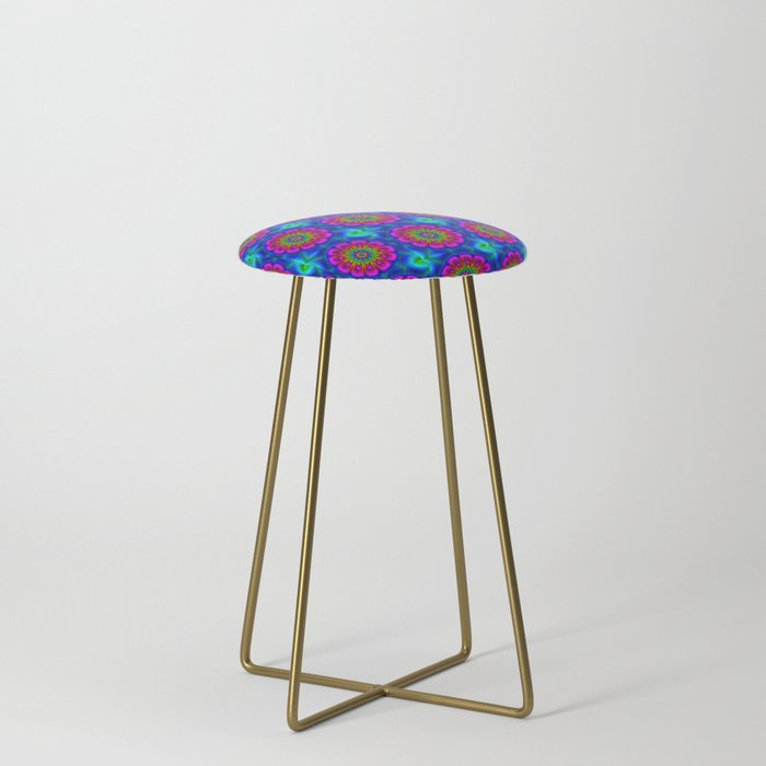 Flower__rainbowcolored_Counter_Stool_by_Digital_Art_by_Cassy__Gold