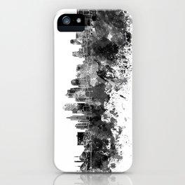 Kansas City skyline in black watercolor iPhone Case