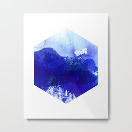 Blue and White Hexagon Abstract Watercolor Metal Print