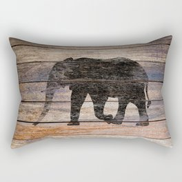 Rustic Elephant Animal Silhouette on Wood A215 Rectangular Pillow