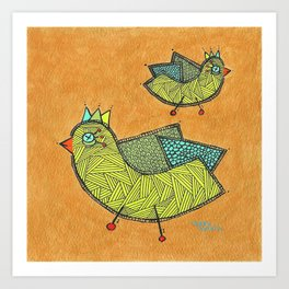 Birds on Gold Art Print