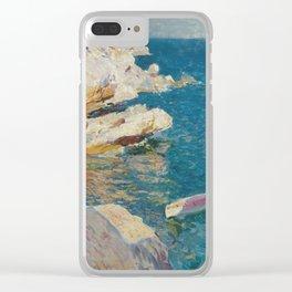 Joaquin Sorolla Y Bastida - Rocks at Javea. The white boat Clear iPhone Case