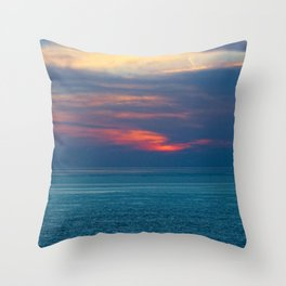 Red Sunset Clouds Peaceful Sea Seascape Skyscape Coastal Panorama Throw Pillow