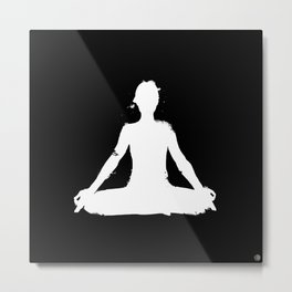 yoga pose chakra black and white silhouette  Metal Print