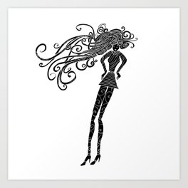 Long hair woman silhouette Art Print