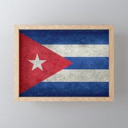 Flag of Cuba - vintage retro version Framed Mini Art Print
