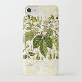 Common Hop Botanical Print on Vintage almanac collage iPhone Case
