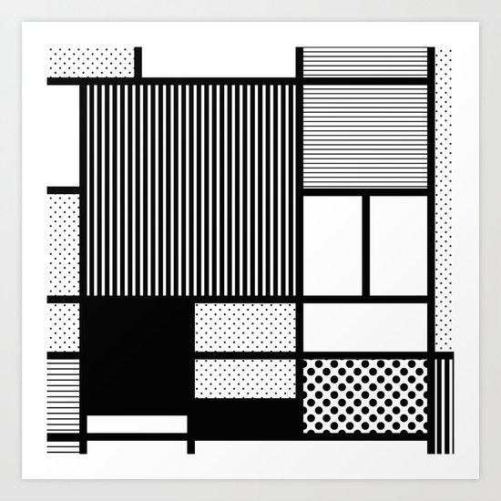 Composition With Black, Dots, Stripes & Black Art Print