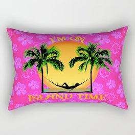 Pink Flowers Island Time Rectangular Pillow